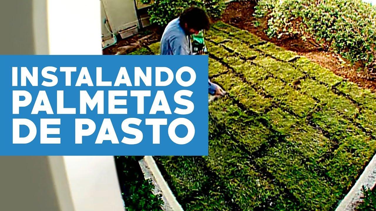 C mo instalar palmetas de pasto youtube for Antejardines rusticos