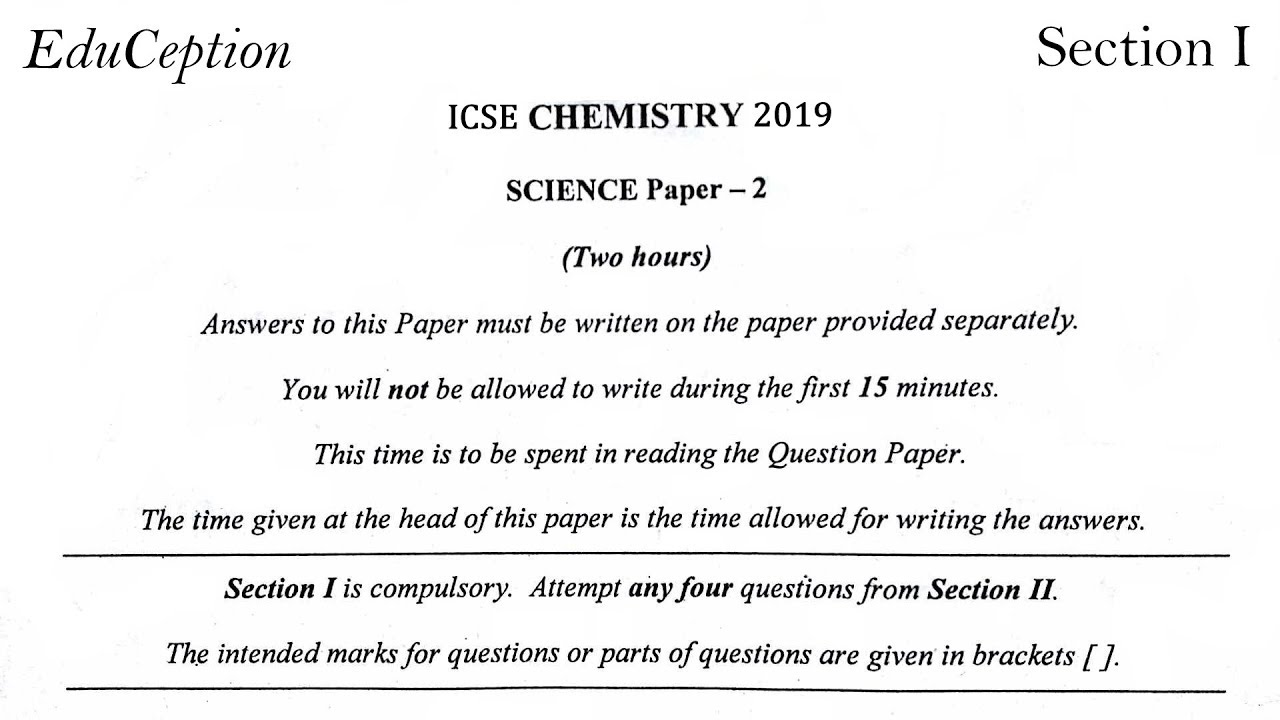 ICSE 2019 Chemistry Solved Question Paper