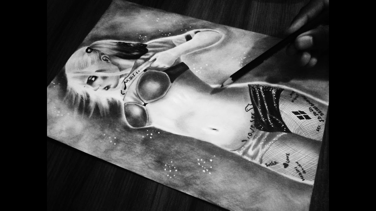 Quinn Drawing: Drawing Harley Quinn Suicide Squad ..sensual HOT-draw