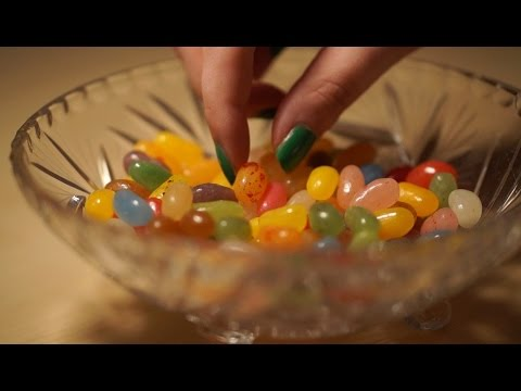 Binaural ASMR. Eating Jelly Beans, Crinkling & Clicking Sounds (Glass Bowl)