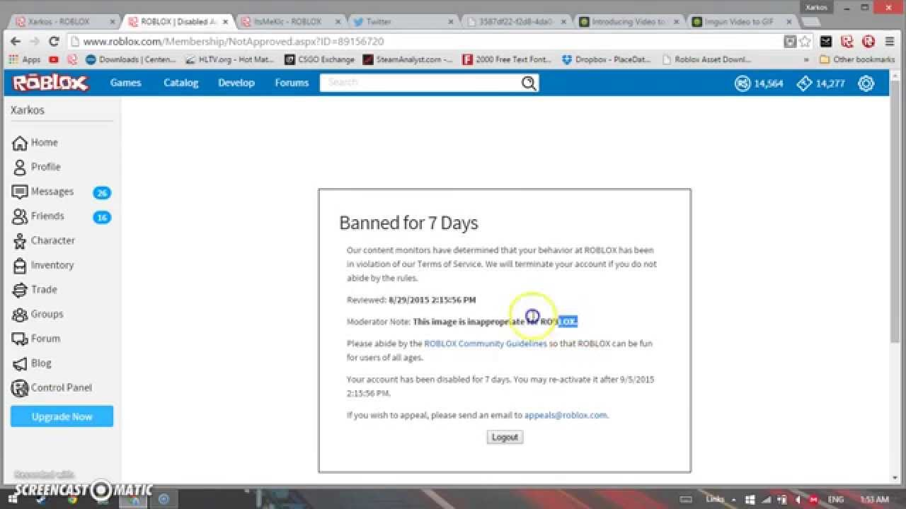 Roblox: Banned for 7 days For A Ridiculous Reason