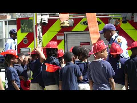 John Means joins Beechfield Elementary School in a fire safety tour