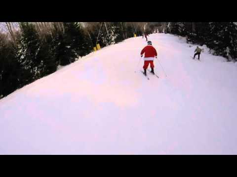 Skiing Santa At Snowshoe West Virginia