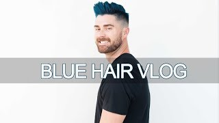 dying my hair blue thick hair tricks vlog