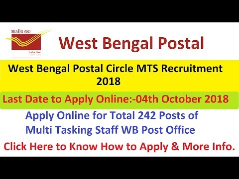 West Bengal Postal Circle MTS Recruitment 2018 Apply Online