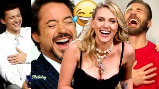 Avengers: Endgame Cast Continuously Laughing for 10 Minutes | Funny Moments