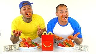 World's HOTTEST McDonald's CHICKEN NUGGETS CHALLENGE!!! ($500 CASH BET)