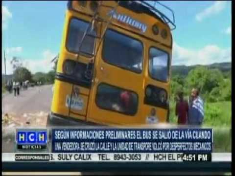 Autobús se da vuelta y salen varios lesionados en El Guante, Francisco Morazán