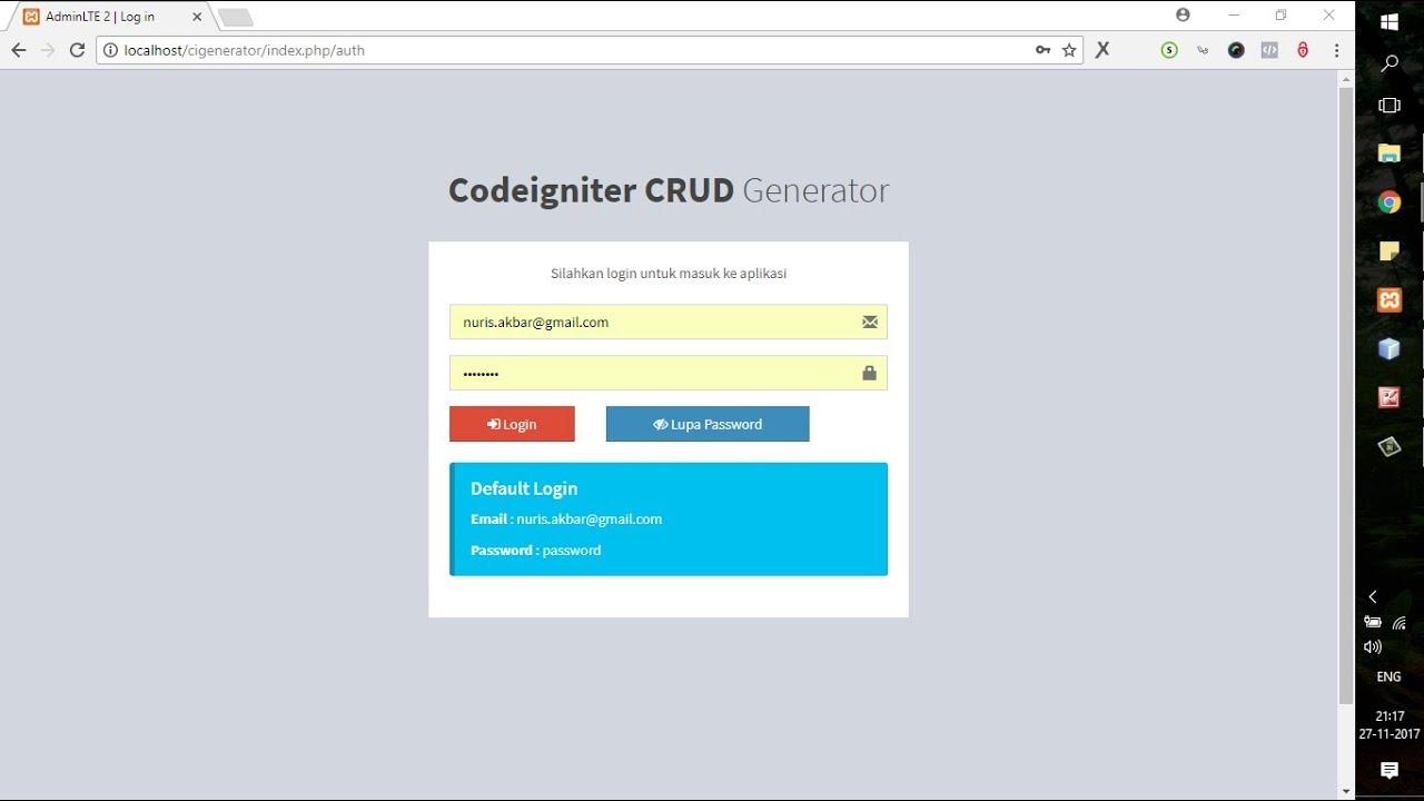 Tools Codeigniter CRUD Generator Terbaru