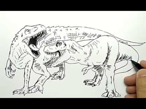 Cara Menggambar Dinosaurus Indominus Rex Vs T Rex Dengan Mudah How