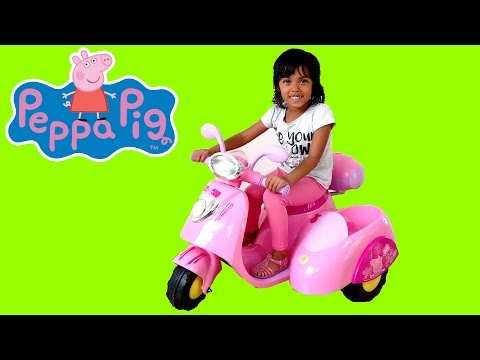 Pink Peppa Pig Ride On Power Wheels Motor Bike   Surprise Toy Unboxing & Assembly Playtime Kids Fun