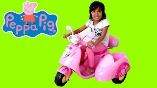 Pink Peppa Pig Ride On Power Wheels Motor Bike | Surprise Toy Unboxing & Assembly Playtime Kids Fun