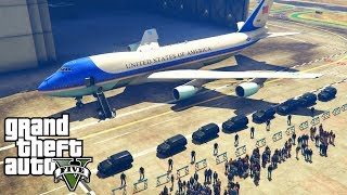 GTA 5 - Escorting President Donald Trump to UN General Assembly (GTA 5 Air Force One Mod!)