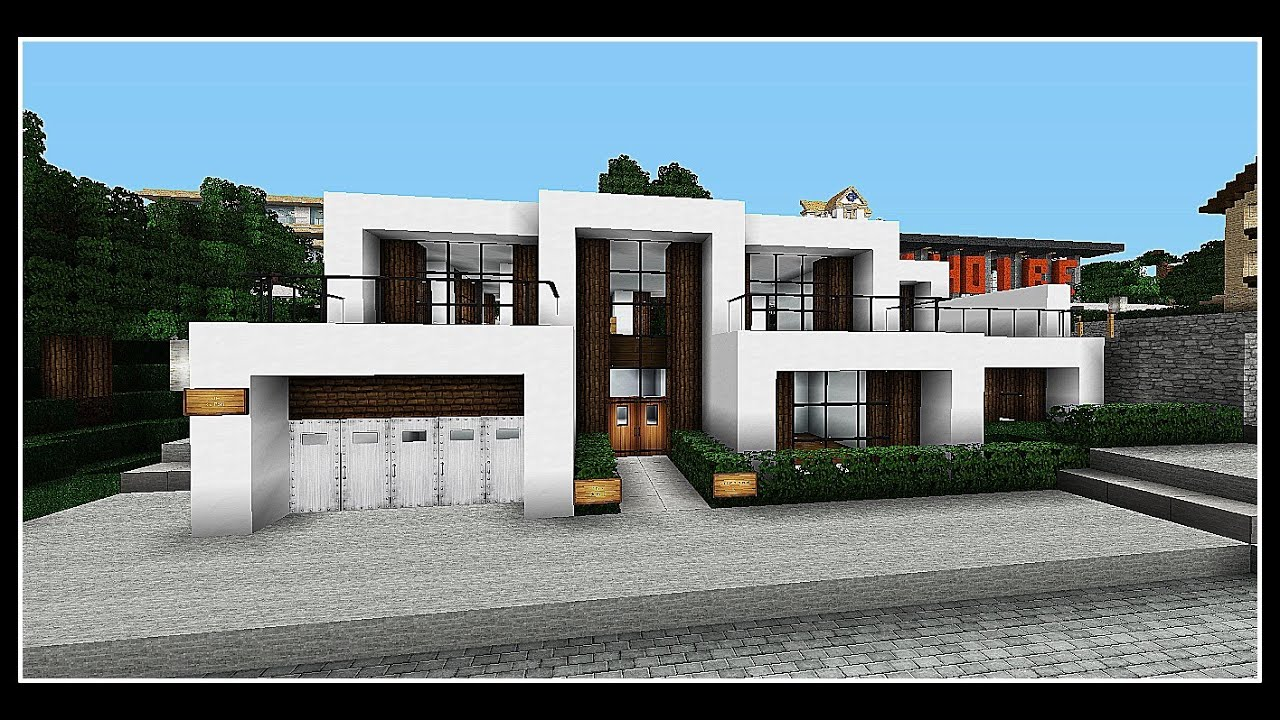 Minecraft pr sentation d 39 une maison hyper moderne facile for Villa moderne interieur plan