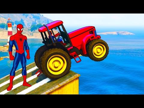 Divertidos tractores y colores camiones coches spiderman canciones dibujos animados para ni�os
