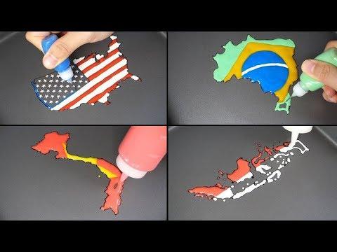 (Compilation) National Flag Map Pancake Art - USA, Brazil, Vietnam, Germany, Turkey, Indonesia Etc