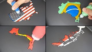 (Compilation) National Flag Map Pancake art - USA, Brazil, Vietnam, Germany, Turkey, Indonesia etc