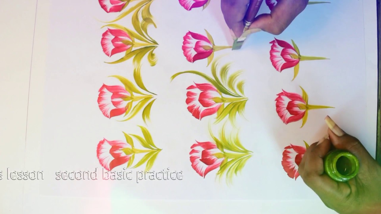 Free Hand Painting Basic Saree Flower Design Composition More