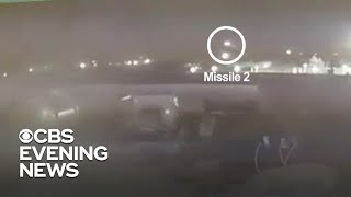 Video shows Iranian missiles striking Ukrainian jet