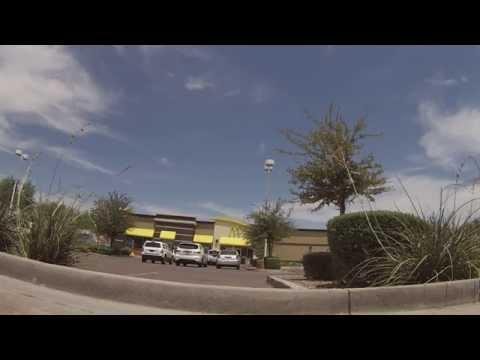 Driving around and Parking at Mesa Riverview Shopping Center, Mesa, AZ, 8 July 2014, GP020031