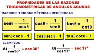 Razones Trigonométricas Propiedad Reciproca Ejercicios Resueltos Nivel 1 Trigonometría Matemáticas