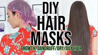4 DIY HAIR MASK FOR DANDRUFF  GROWTH, OILY & DRY HAIR !!