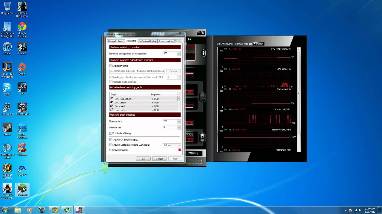 how to enable MSI afterburner on-screen display