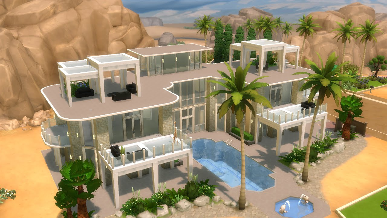 The Sims 4 - House Building - Modern Mansion with GLASS FLOOR - YouTube