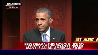 President Obama speaks at Baltimore mosque.