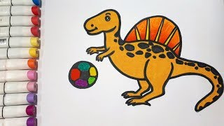 How To Draw A Dinosaur and Ball || Draw For Kids