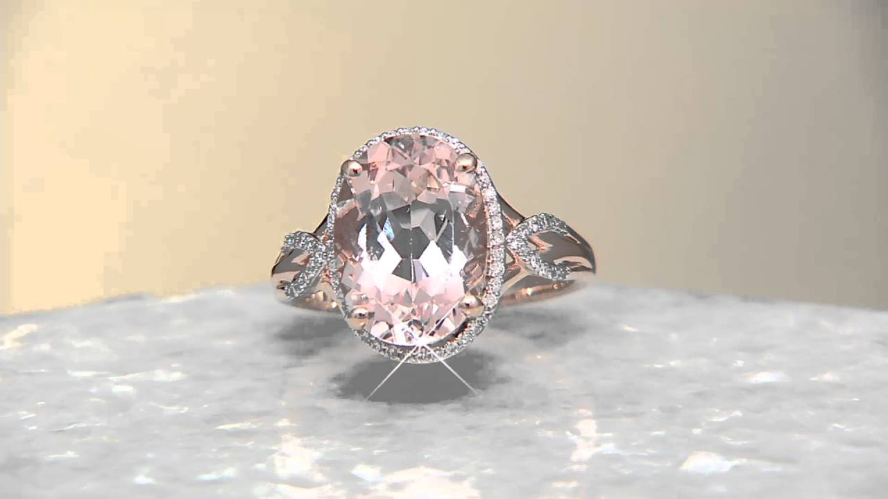 Oval Morganite And Diamond Ring, 14k Gold 500 Ct On Qvc