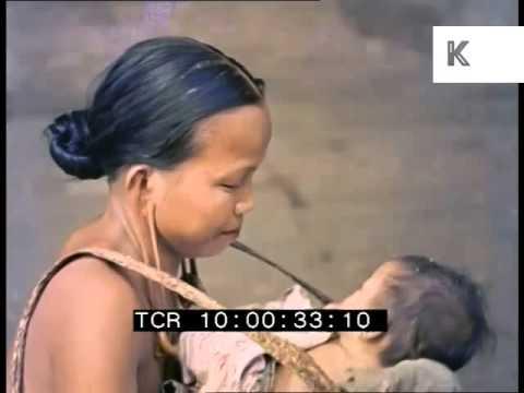 1950s Borneo, Tribal Women, Colour 35mm Archive Footage
