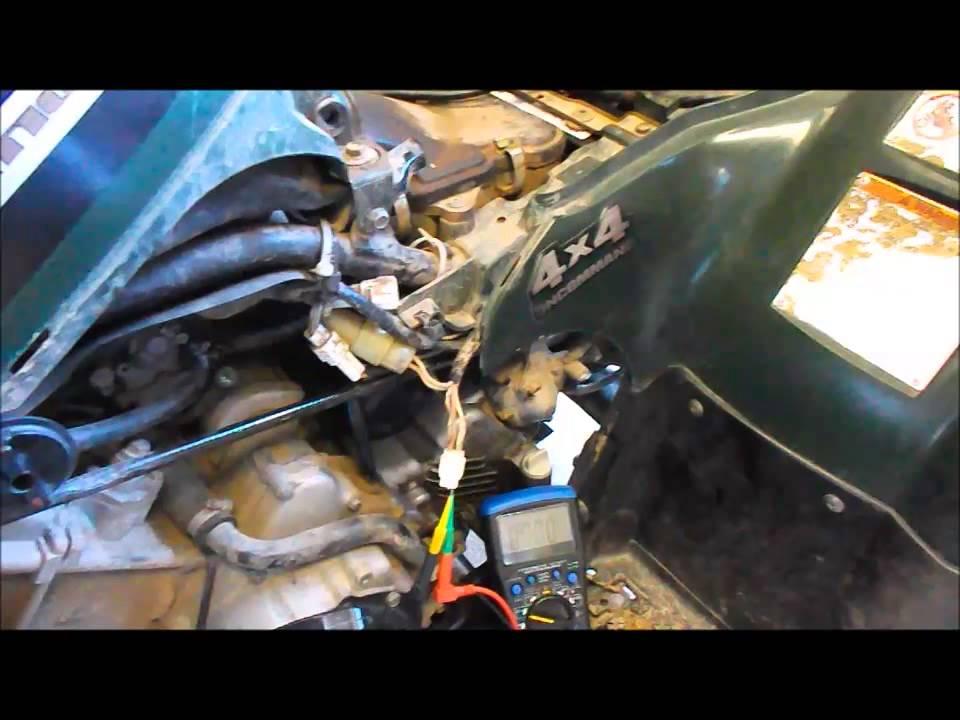 Yamaha kodiak 400 trigger pickup coil test ohms - peak voltage - YouTube