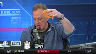 Michael Kay loses bet, eats entire Whopper on air