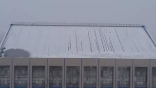 Крыша бассейна и на ней катаются вороны