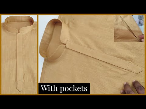 How to Sew a kurta | full video with side pockets || perfect kurta stitching with attache pockets ||