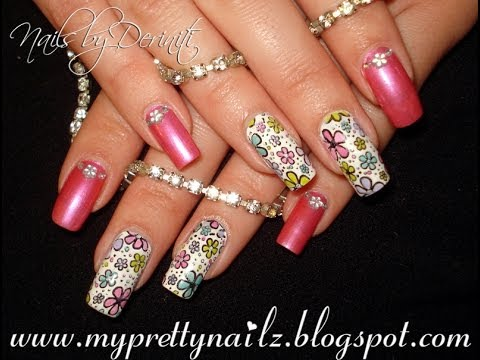 Pretty leadlight spring flowers color changing summer nail art pretty leadlight spring flowers color changing summer nail art design tutorial prinsesfo Image collections
