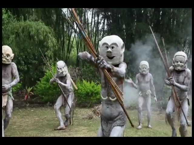 Asaro Mud Men creep out of the forest.