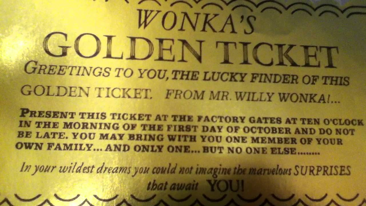 Willy Wonka And The Chocolate Factory Golden Ticket Youtube