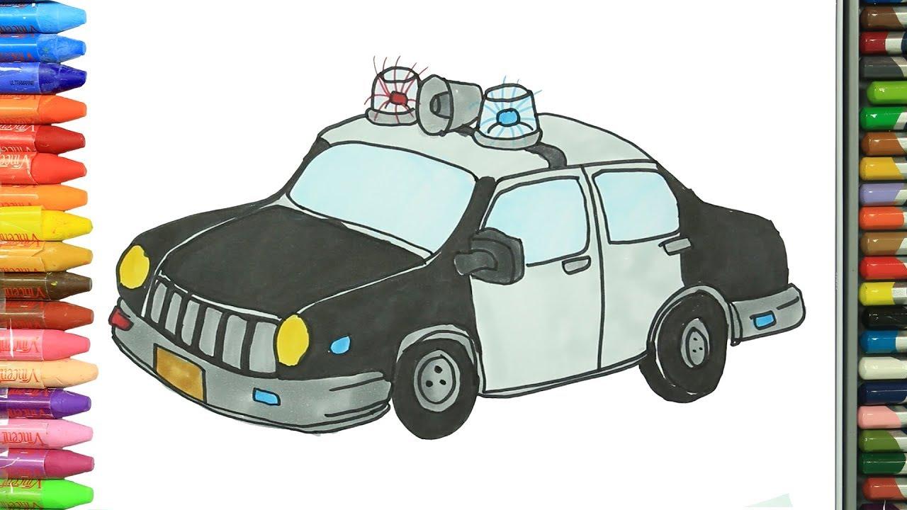 Cómo Dibujar Y Colorear Coche De Policía Dibujos Para Niños Youtube
