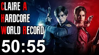 Resident Evil 2 Remake - Claire A Hardcore Speedrun World Record - 50:55