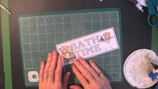 Title Border and Tags for Baby Boy Scrapbook Page Layout - 3D Paper Tole Decoupage