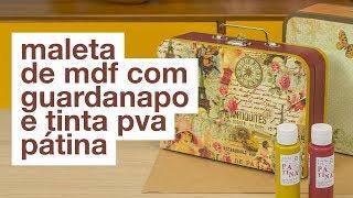 Maleta de MDF com Guardanapo e Tinta PVA Pátina