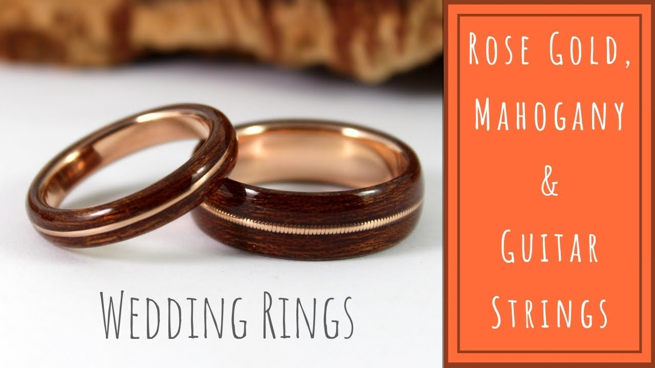 Wood Wedding Rings.Wood Wedding Rings Rose Gold And Mahogany With Guitar String Inlays How It S Made