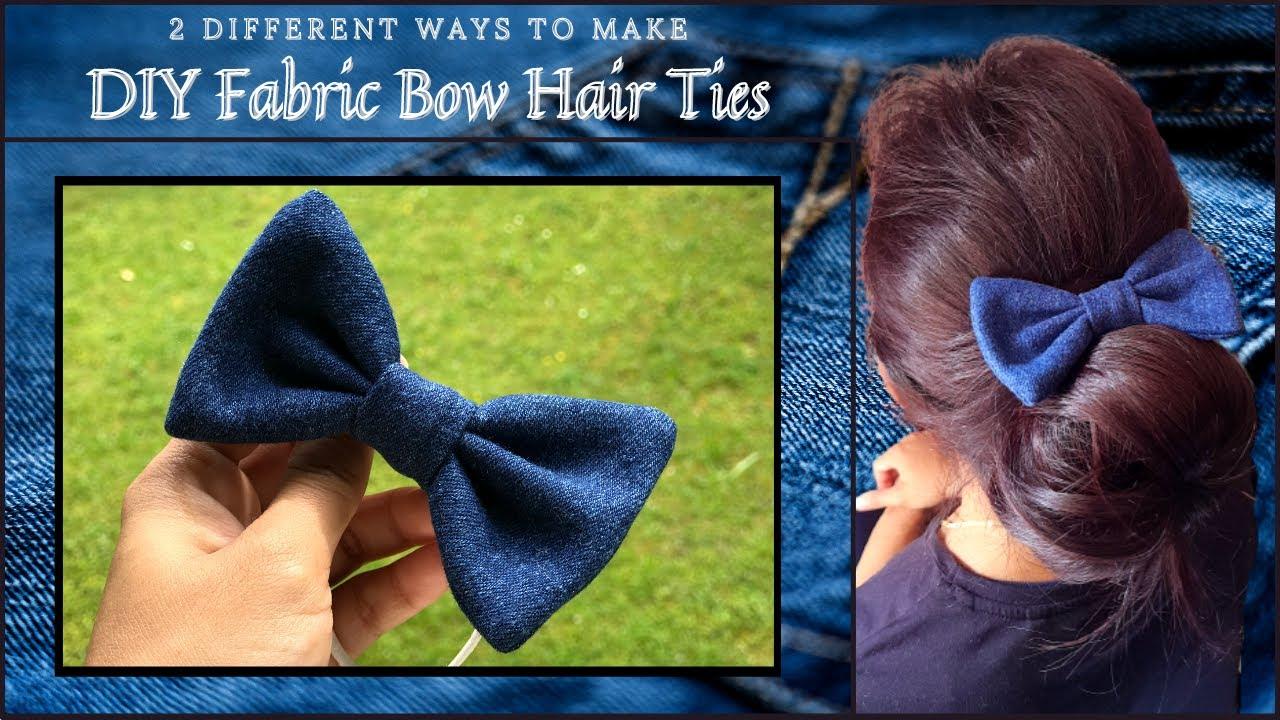 DIY Bow Hair Ties | DIY Hair Accessories | 2 Ways to make Fabric Bow Hair Tie | Use Waste Fabric