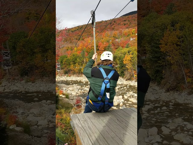 Liz on the Loon Zipline - Troop 279