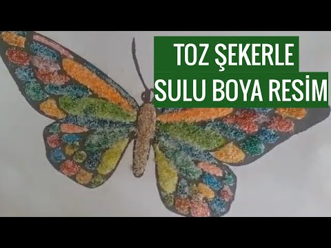 Toz Seker Ile Sulu Boya Calismasi Watercolor Painting Ideas