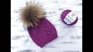 Самая простая шапка спицами с косой.