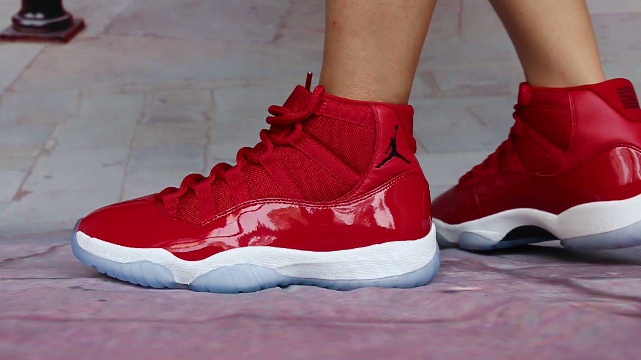 b3795d1b9cd8fc How Air Jordan 11 Gym Red On Foot Look HD Show - YouTube