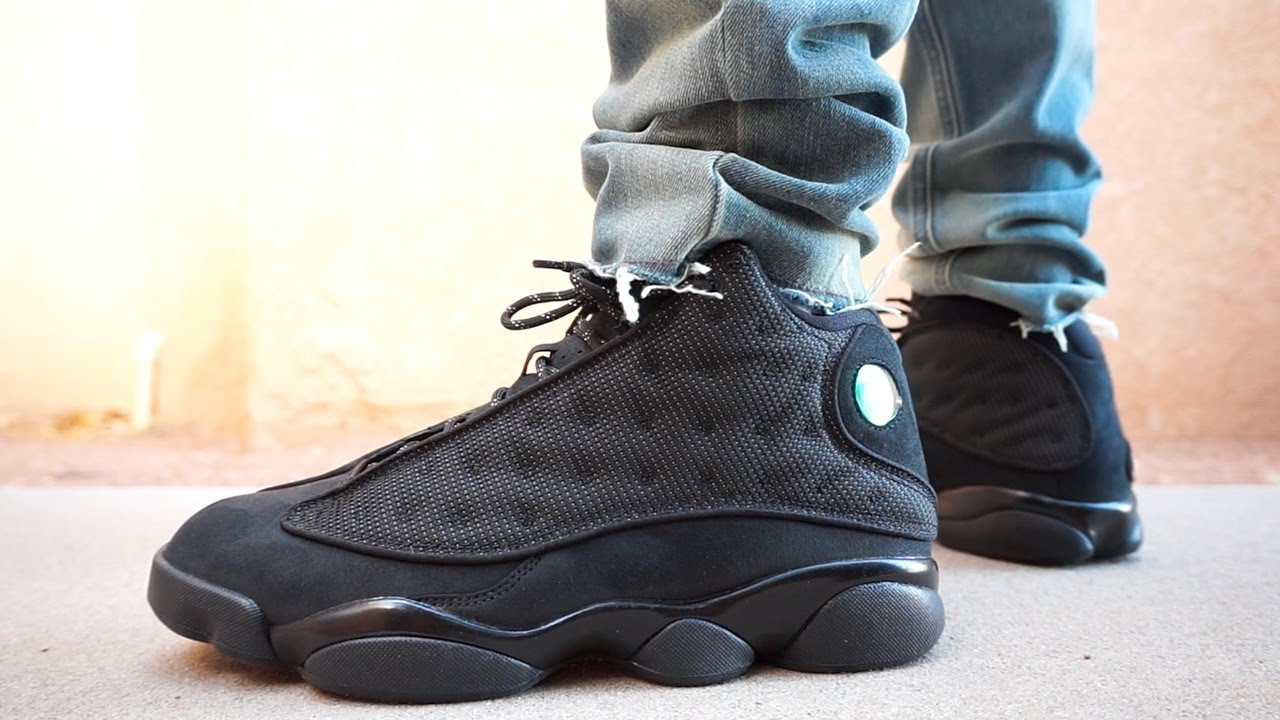 BLACK CAT AIR JORDAN RETRO 13 EARLY UP CLOSE ON FOOT REVIEW !!!! - YouTube 6647b4963